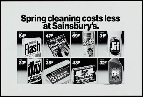 """SA/MARK/ADV/1/1/1/1/2/5/56 - """"Spring cleaning costs less at Sainsbury's"""" advertisement proof"""