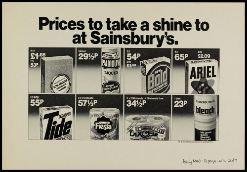 "SA/MARK/ADV/1/1/1/1/2/5/62 - ""Prices to take a shine to Sainsbury's"" advertisement proof"