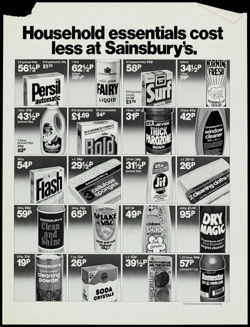 """SA/MARK/ADV/1/1/1/1/2/5/65 - """"Household essentials cost less at Sainsbury's"""" advertisement proof"""