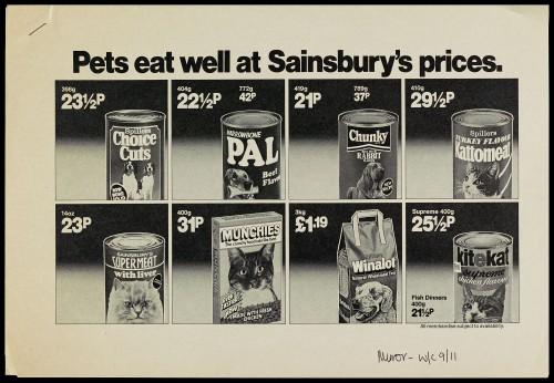 """SA/MARK/ADV/1/1/1/1/2/5/77 - """"Pets eat well at Sainsbury's advertisement proof"""