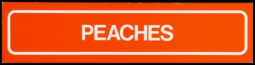"SA/MARK/ADV/2/1/16/10 - ""Peaches"" barker card (shelf edge label)"