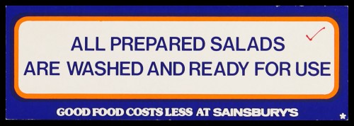 """SA/MARK/ADV/2/1/16/13 - """"All prepared salads are washed and ready for use"""" barker card (shelf edge label)"""
