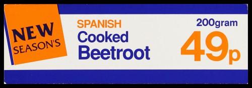 "SA/MARK/ADV/2/1/16/14 - ""New Season's: Spanish Cooked Beetroot 49p"" barker card (shelf edge label)"