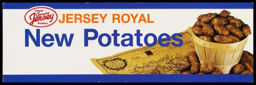 "SA/MARK/ADV/2/1/16/15 - ""Jersey Royal New Potatoes"" barker card (shelf edge label)"