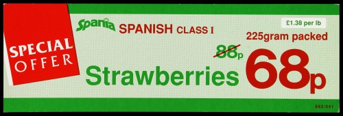 "SA/MARK/ADV/2/1/16/17 - ""Special Offer: Spania Spanish Class I Strawberries"" barker card (shelf edge label)"
