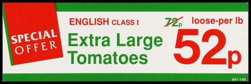 """SA/MARK/ADV/2/1/16/18 - """"Special Offer: English Class I Extra Large Tomatoes"""" barker card (shelf edge label)"""