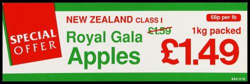 "SA/MARK/ADV/2/1/16/19 - ""Special Offer: New Zealand Class I Royal Gala Apples"" barker card (shelf edge label)"