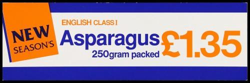 "SA/MARK/ADV/2/1/16/21 - ""New Season's: English Class I Asparagus"" barker card (shelf edge label)"