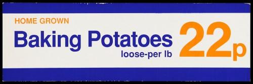 "SA/MARK/ADV/2/1/16/24 - ""Home Grown Baking Potatoes"" barker card (shelf edge label)"