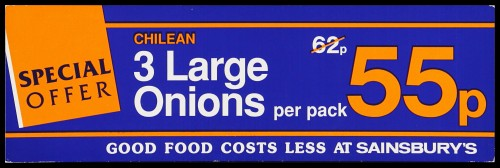 """SA/MARK/ADV/2/1/16/25 - """"Special Offer: Chilean 3 Large Onions"""" barker card (shelf edge label)"""