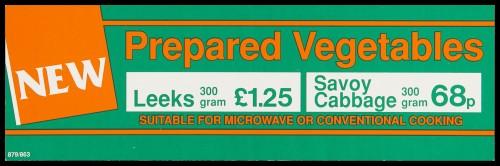 "SA/MARK/ADV/2/1/16/27 - ""New: Prepared Vegetables"" (Leeks, Savoy Cabbage) barker card (shelf edge label)"