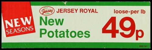 "SA/MARK/ADV/2/1/16/30 - ""New Seasons: Jersey Royal New Potatoes"" barker card (shelf edge label)"