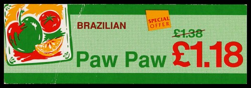 "SA/MARK/ADV/2/1/16/32 - ""Brazilian Paw Paw"" barker card (shelf edge label)"