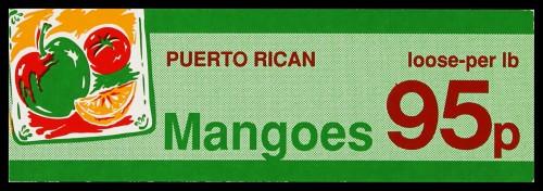 "SA/MARK/ADV/2/1/16/33 - ""Puerto Rican Mangoes"" barker card (shelf edge label)"
