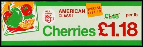 "SA/MARK/ADV/2/1/16/34 - ""American Class I Cherries"" (Special Offer) barker card (shelf edge label)"