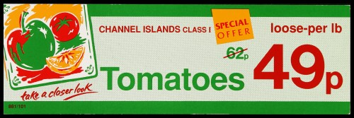 """SA/MARK/ADV/2/1/16/35 - """"Channel Islands Class I Tomatoes"""" (Special Offer) barker card (shelf edge label)"""