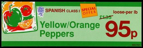 "SA/MARK/ADV/2/1/16/36 - ""Spania Spanish Class I Yellow/Orange Peppers"" (Special Offer) barker card (shelf edge label)"