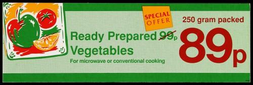 "SA/MARK/ADV/2/1/16/37 - ""Ready Prepared Vegetables"" (Special Offer) barker card (shelf edge label)"