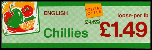 "SA/MARK/ADV/2/1/16/38 - ""English Chillies"" (Special Offer) barker card (shelf edge label)"