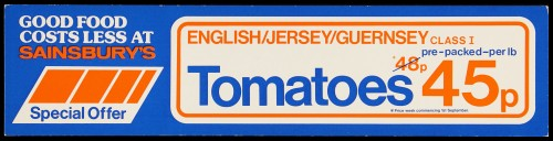 """SA/MARK/ADV/2/1/16/39 - """"English/Jersey/Guernsey Tomatoes"""" (Special Offer) barker card (shelf edge label)"""