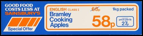 "SA/MARK/ADV/2/1/16/40 - ""English Class I: Bramley Cooking Apples"" (Special Offer) barker card (shelf edge label)"