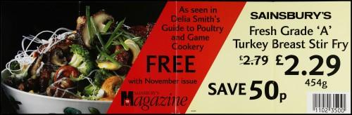 "SA/MARK/ADV/2/1/17/10 - ""Sainsbury's Fresh Grade 'A' Turkey Breast Stir Fry"" point of sale poster"