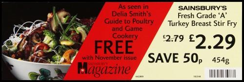 "SA/MARK/ADV/2/1/17/11 - ""Sainsbury's Fresh Grade 'A' Turkey Breast Stir Fry"" barker card (shelf edge label)"