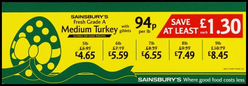 "SA/MARK/ADV/2/1/17/13 - ""Sainsbury's Fresh Grade A Medium Turkey with giblets"" barker card (shelf edge label)"