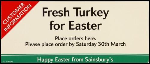 """SA/MARK/ADV/2/1/17/15 - """"Fresh Turkey for Easter"""" barker card (shelf edge label)"""