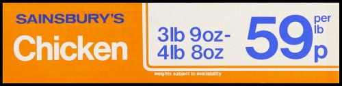 """SA/MARK/ADV/2/1/17/18 - """"Sainsbury's Chicken 3lb 9oz-4lb 8oz 59p per lb"""" barker card (shelf edge label)"""