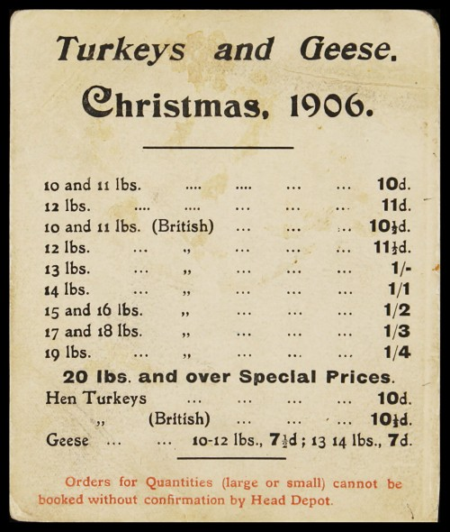 "SA/MARK/ADV/2/1/17/1 - Show card ""Turkeys and Geese Christmas 1906"""