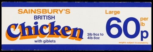 "SA/MARK/ADV/2/1/17/21 - ""Sainsbury's British Chicken with giblets. Large 60p per lb"" barker card (shelf edge label)"