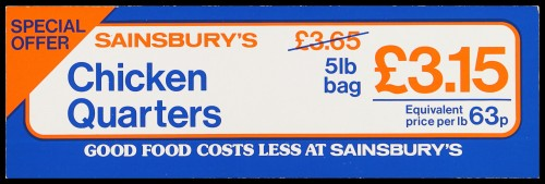 "SA/MARK/ADV/2/1/17/25 - ""Sainsbury's Chicken Quarters"" special offer barker card (shelf edge label)"