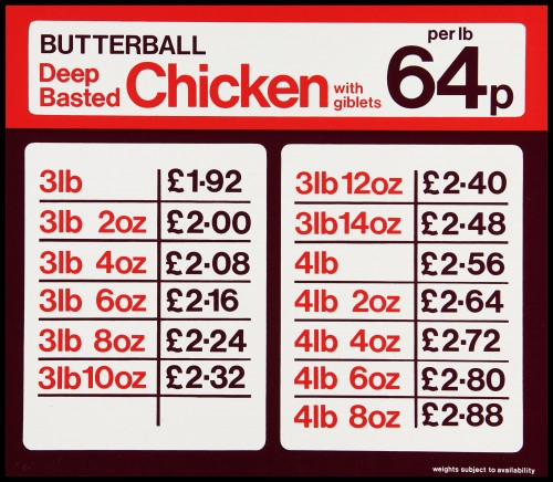 """SA/MARK/ADV/2/1/17/32 - """"BUTTERBALL Deep Basted Chicken with giblets"""" large shelf label with price table"""