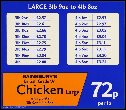 """SA/MARK/ADV/2/1/17/33 - """"Sainsbury's British Grade 'A' Chicken Large with giblets"""" large shelf label with price table"""