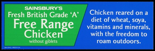"SA/MARK/ADV/2/1/17/34 - ""Sainsbury's Fresh British Grade 'A' Free Range Chicken with giblets"" barker card (shelf edge label)"