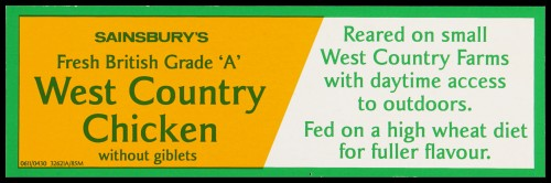 """SA/MARK/ADV/2/1/17/35 - """"Sainsbury's Fresh British Grade 'A' West Country Chicken without giblets"""" barker card (shelf edge label)"""