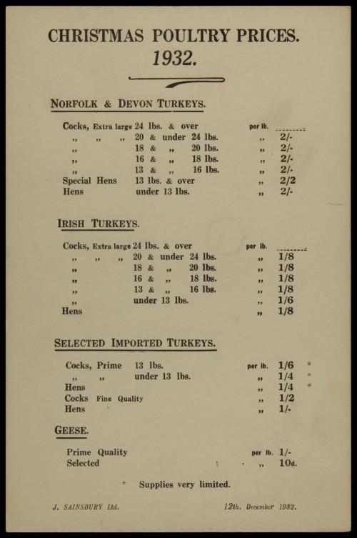 SA/MARK/ADV/3/3/6/1/10 - 'Christmas Poultry Prices', 1932
