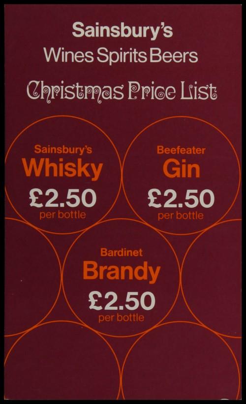 SA/MARK/ADV/3/3/6/1/24 - 'Sainsbury's Wines Spirits Beers Christmas Price List', 1972
