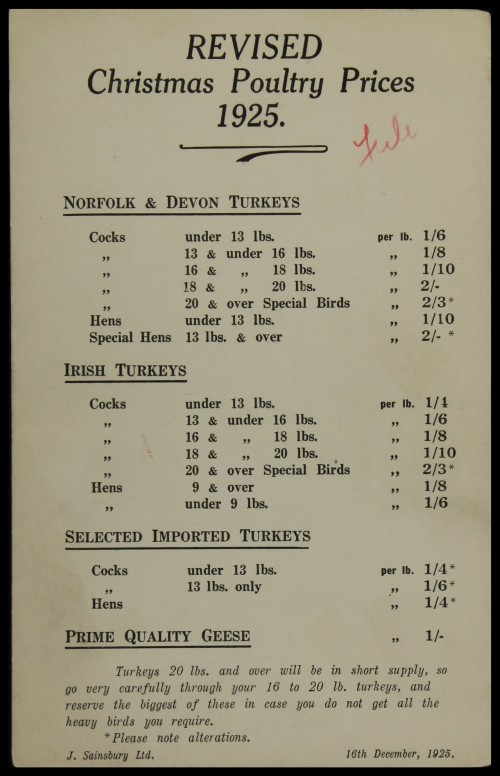SA/MARK/ADV/3/3/6/1/2 - 'REVISED Christmas Poultry Prices', 1925