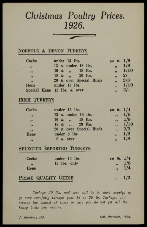 SA/MARK/ADV/3/3/6/1/3 - 'Christmas Poultry Prices', 1926