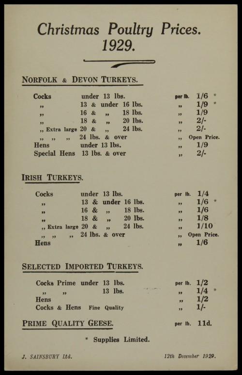 SA/MARK/ADV/3/3/6/1/6 - 'Christmas Poultry Prices', 1929
