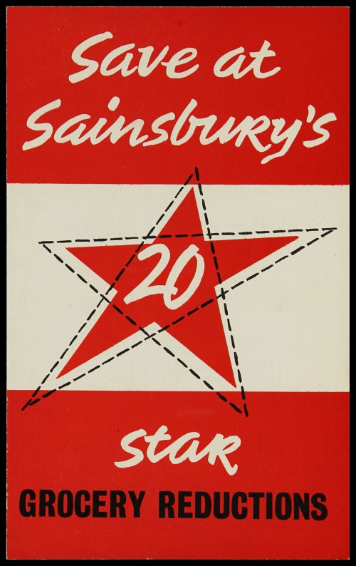 SA/MARK/ADV/3/3/7/9 - 'Save at Sainsbury's. 20 Star Grocery Reductions' leaflet, Jun 1958