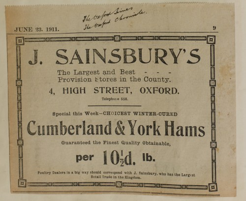 SA/MARK/ADV/1/1/1/1/1/6/1/103 - Newspaper advert for Cumberland & York Hams, 1911