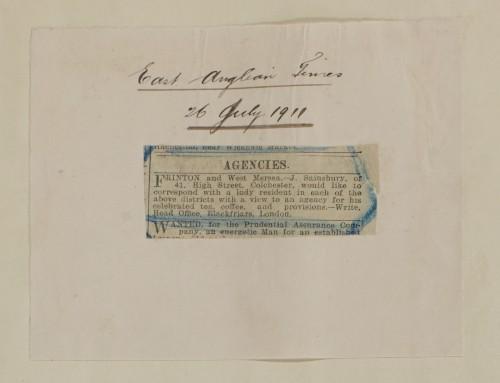 SA/MARK/ADV/1/1/1/1/1/6/1/106 - Small newspaper advert for an Agency, 1911