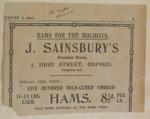 SA/MARK/ADV/1/1/1/1/1/6/1/108 - Newspaper advert for Hams, 1911