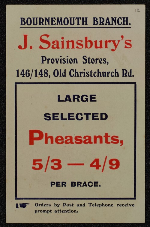 SA/MARK/ADV/1/1/1/1/1/6/1/12 - Pheasants advertisement, 1909
