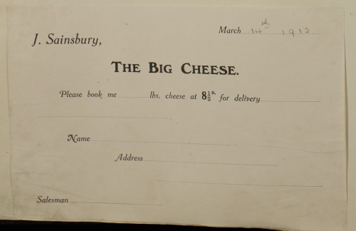 SA/MARK/ADV/1/1/1/1/1/6/1/131 - Delivery slip for 'The Big Cheese' event, 1912