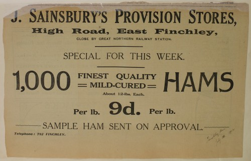 SA/MARK/ADV/1/1/1/1/1/6/1/139 - Large newspaper advert for Special Offers of Hams, 1912