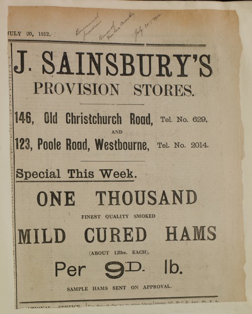 SA/MARK/ADV/1/1/1/1/1/6/1/142 - Newspaper advert for Special Offer of Hams, 1912